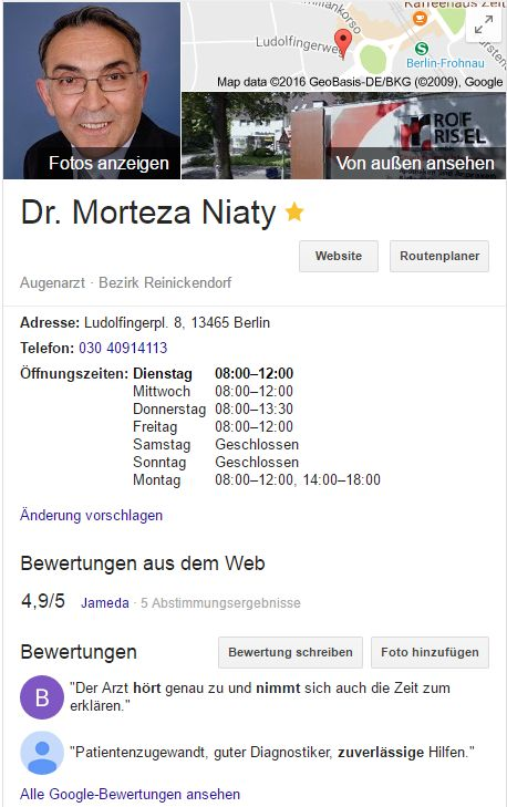 Webdesign Augenarzt Morteza Niaty in Berlin-Frohnau Website
