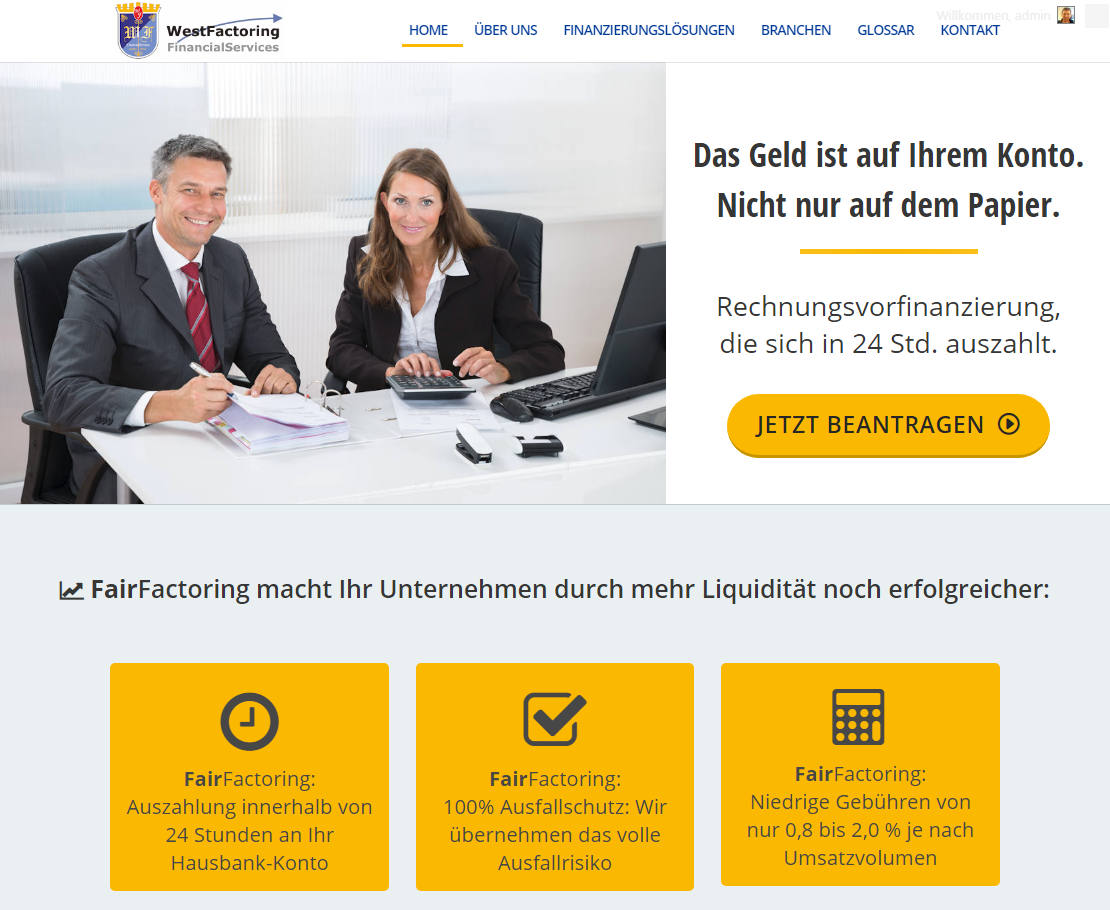 WestFactoring Financial Services moderne Website erstellt von Berliner Website Agentur