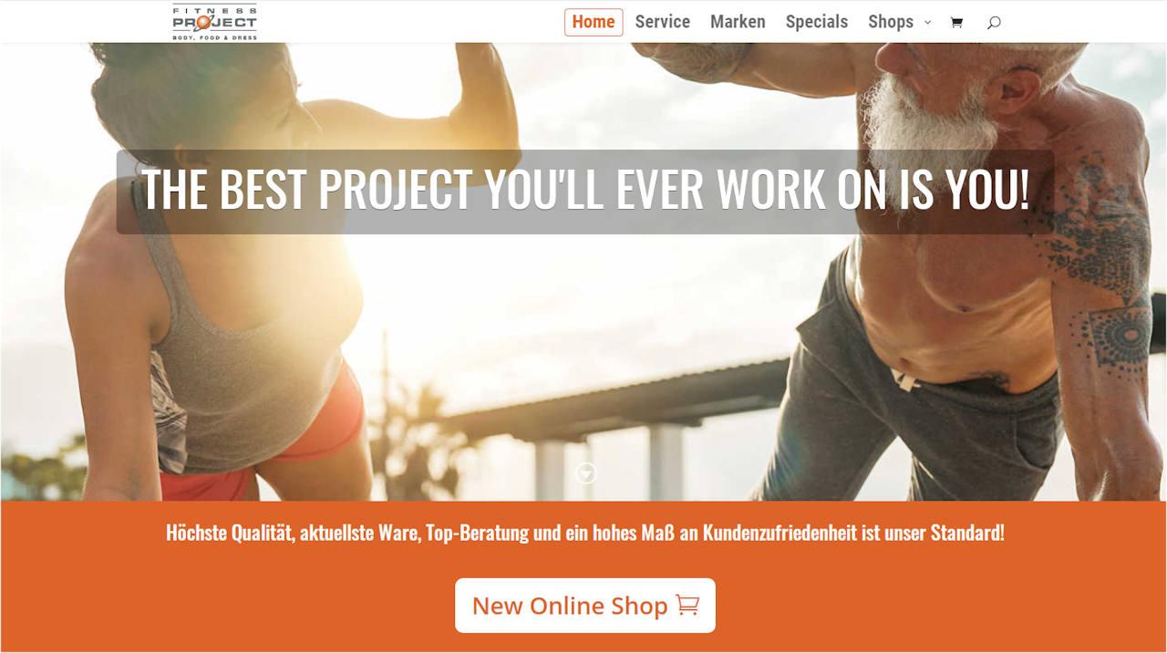 Fitness Project Website mit integriertem Online-Shop