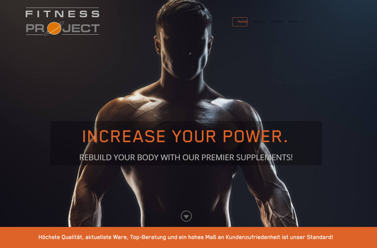 Fitness Project Website ist ein elegantes funktionelles Webdesign